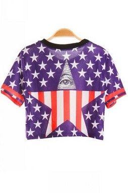 USA Flag Eyes Vintage Look Round Neck Cotton T-Shirt