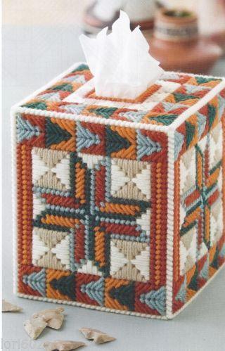 Southwest Star Arrow Quilt Tissue Box Cover Pattern Plastic Canvas Pattern | eBay