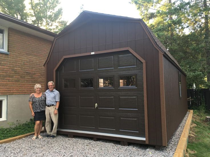12 x 24 garage - Pre-built and delivered fully-assembled. This barn style prefab garage shed is perfect for all your large items in need of some quick storage including, classic cars, ATV, motorcycles, lawn tractors and more...