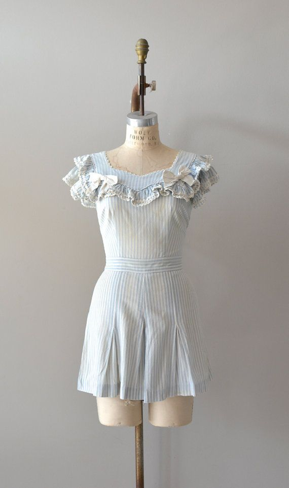 1930s playsuit / 30s romper / Ticking Stripe romper