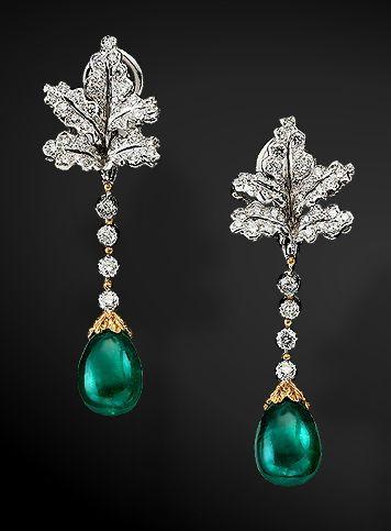 Buccellati - diamond and emerald earrings - gorgeous