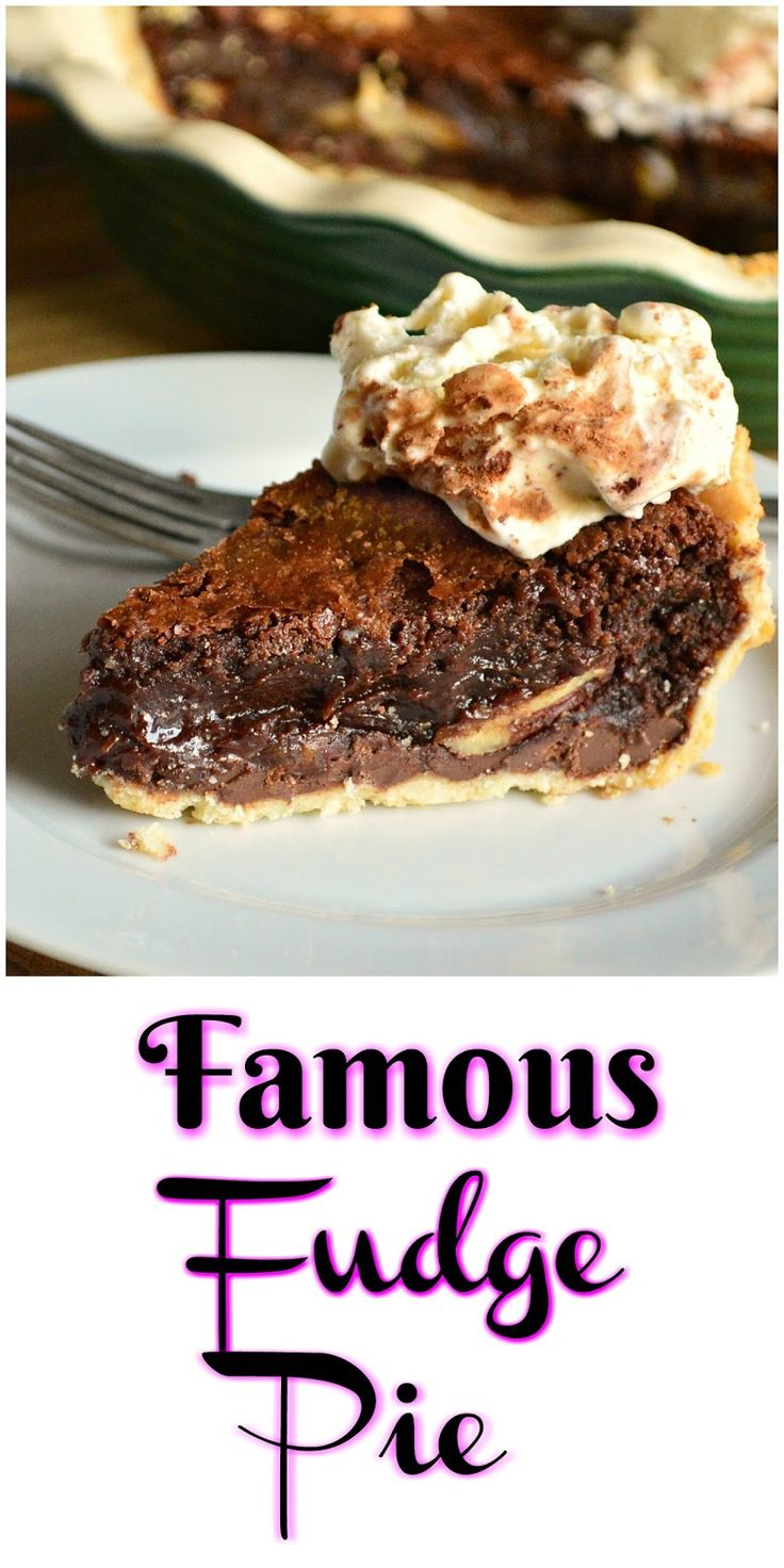 Famous fudge pie is easy to make and better than fudge! Maybe that's why it's famous!