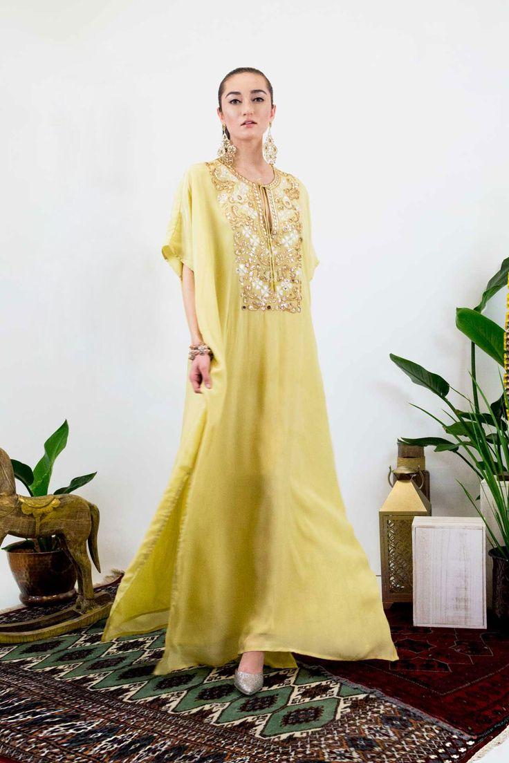 Beige Embellished Long Kaftan Dress - Designer Women's Clothing - Shahida Parides
