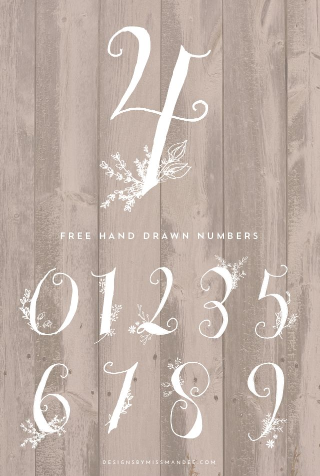 Stunning Hand Drawn Numbers - Designs By Miss Mandee. Think of how fun these would be on place settings at a wedding, or as part of a birthday banner!