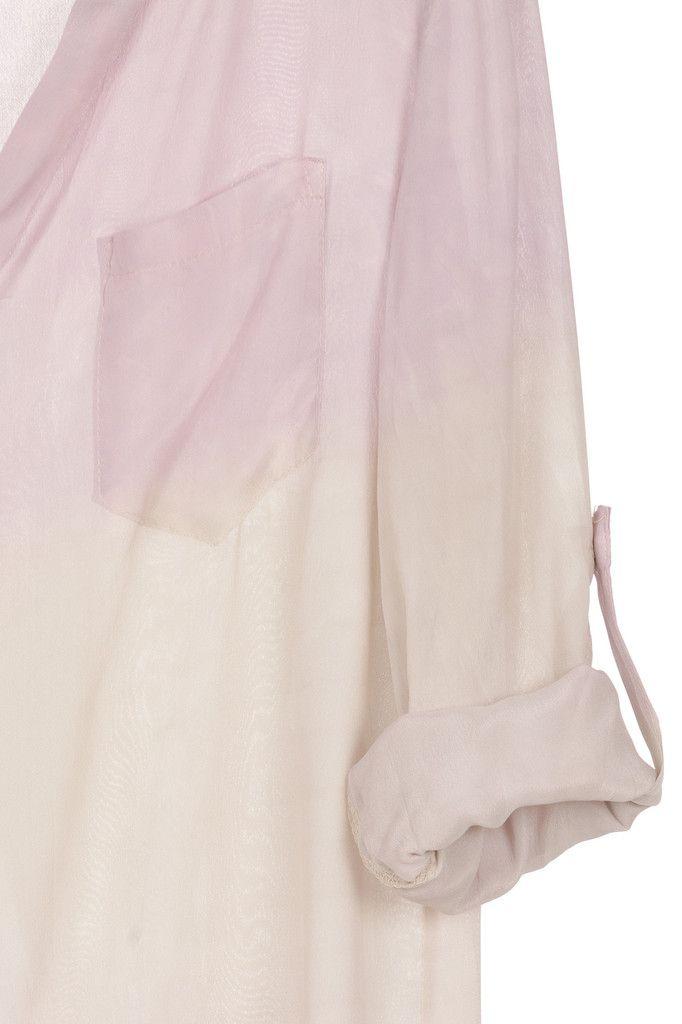 Bo-Star - blusa TIE DYE SILK rosa y blanco roto