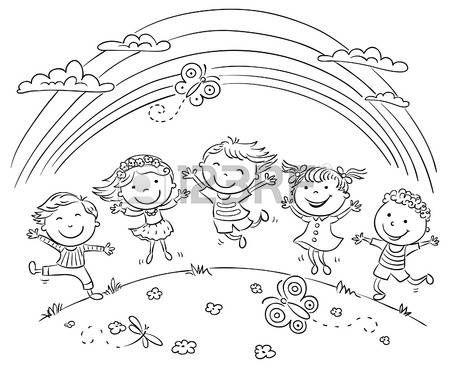 Niños saltando de alegría en una colina bajo el arco iris, esquema blanco y negro