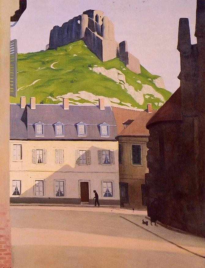 """Félix VALLOTTON 1865-1925 - """"Le Château-Gaillard et la place des Andelys"""" - Huile sur toile 100 cm x 73 cm - Peint en 1924 - Localisation: Vernon, Musée municipal"""