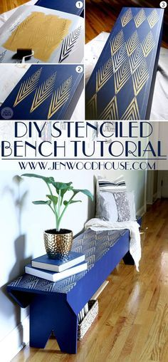 Great tutorial on how to stencil a DIY bench - gorgeous! She has plans on how to build the bench from scratch too! African Plumes Furniture Stencils from Royal Design Studio