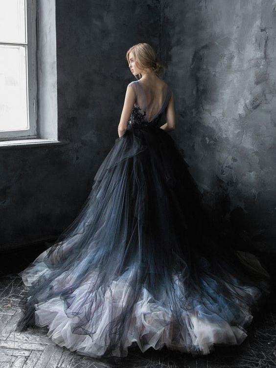 Gorgeous Ball Gown <b>Long Lace Tulle</b> Black Charming Princess ...