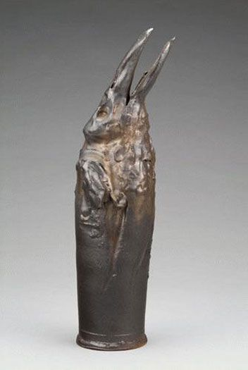 """""""Looking Up Raven"""" by Rick Bartow (Anagama fired Stoneware with Porcelain 