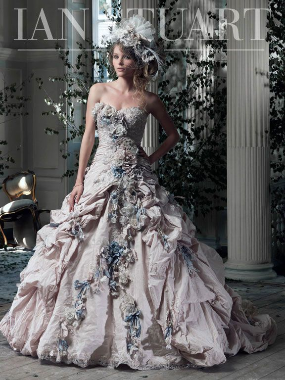 Gainsborough Ian Stuart Bride Colored Wedding Dress Floral Wedding Dress Princess Ball Gowns
