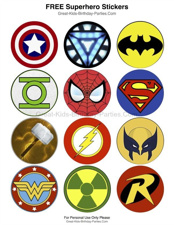Superhero-Printables - Free Superhero stickers, each measures 2.5 inches (6.4 cm).  Lots of fun uses including stickers, cupcake toppers, party favors, prizes and more.