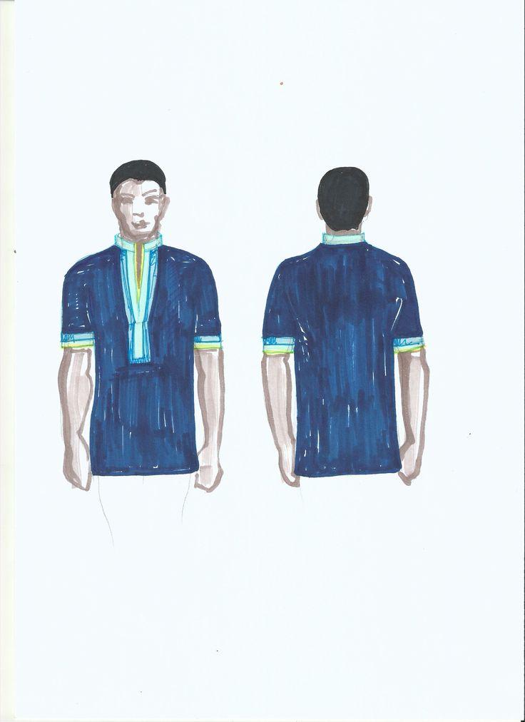 Traditional Sepedi wedding - groomsmen shirt fashion drawing