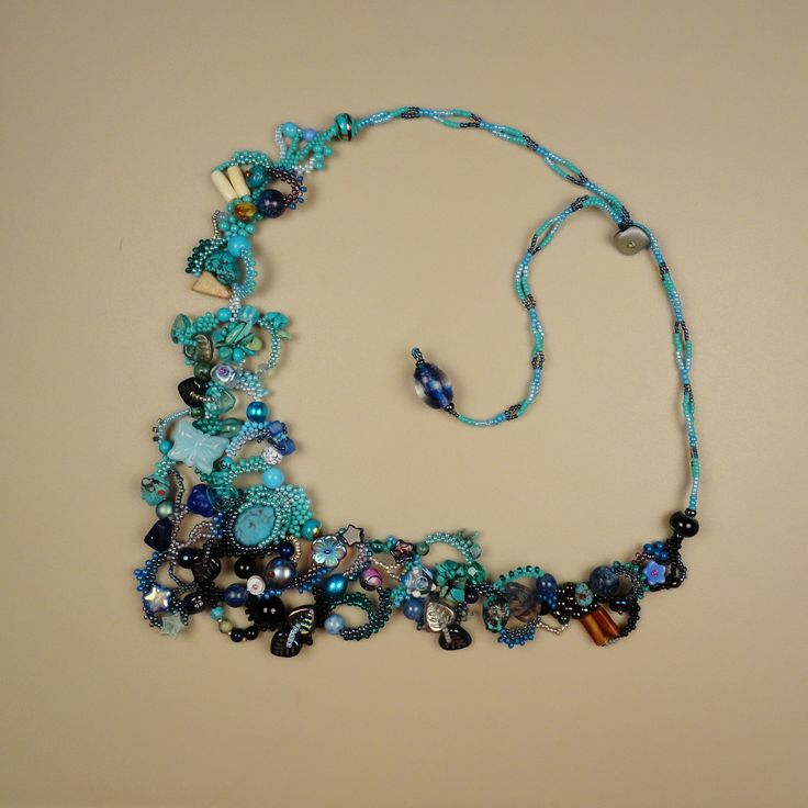 Turquoise Medley at PeyoteBeadArt.com by Sylvie Camps