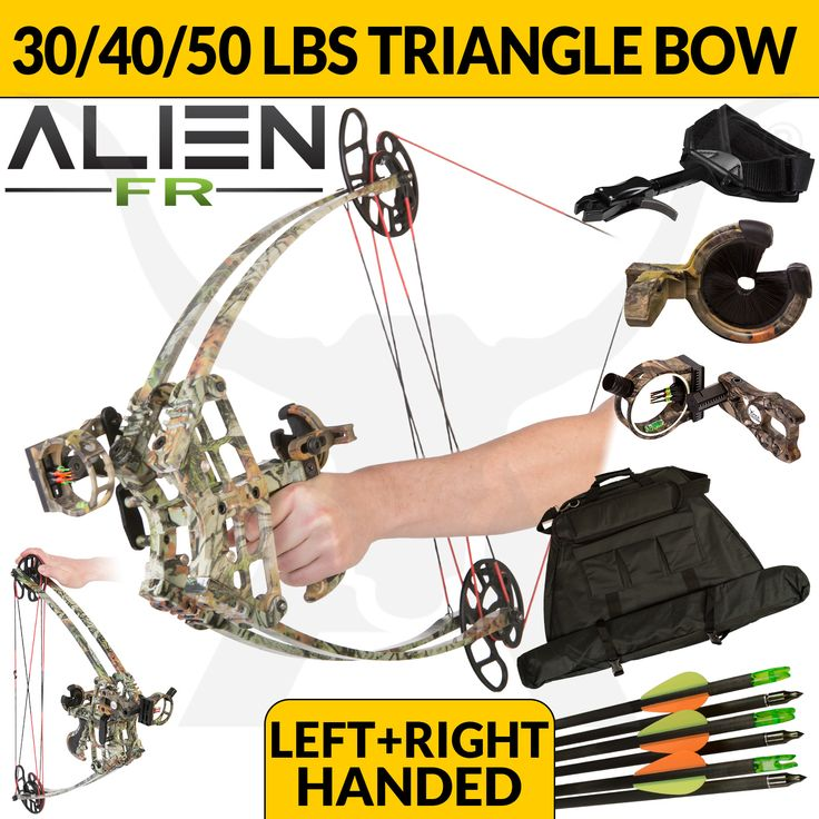 """Alien Bow ($255)  (Choose from either 30, 40 or 50 lbs above) Installed Peep Sight ($7) Installed D-Loop ($5) Installed Full Brush Arrow Rest ($24.95) Professional Installation of peep sight, d-loop, and arrow rest by a bow technician ($30) Trigger Release Aid ($34.95) 5 Pin Fibre Optic Bow Sight ($34.95) Alien Bow Bag ($59.95) 12 Pack of 31"""" Carbon Arrows ($80)   http://www.apexhunting.com.au/p/alien-compound-bow-camo-field-ready-kit/LJ-M109-FR-CAMO"""