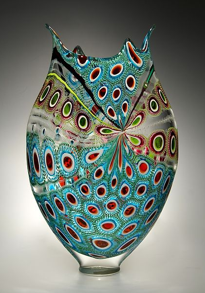 """""""Lime, Ruby & Aqua Foglio"""" Art Glass Vessel by David Patchen.Created by David Patchen One of a Kind From Patchen's Foglio series, this work was created using the difficult murrine technique of making patterned glass ''tiles'', then fusing them together to construct a glass bubble."""