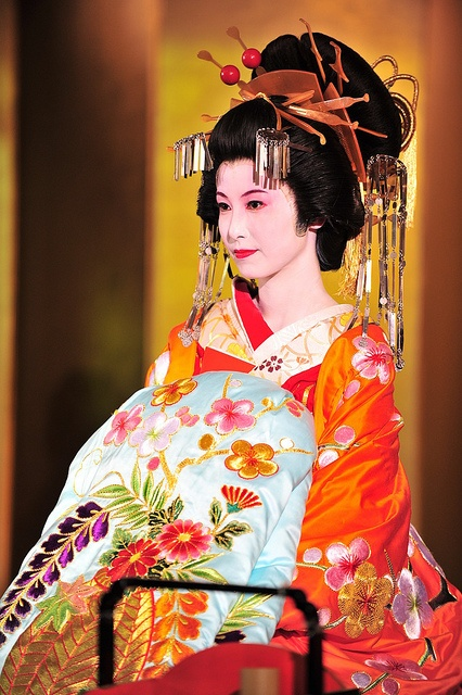 OIRAN Parade - there are no Oiran in Japan now but the role is played by actresses in stunningly beautiful kimono for special celebrations: