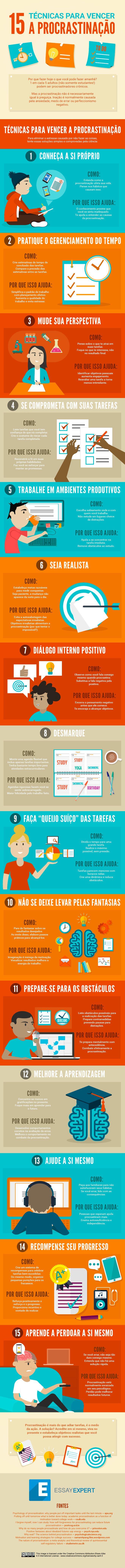 Infográfico: 15 técnicas para acabar com a procrastinação