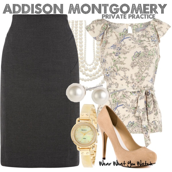 Inspired by Private Practice character Addison Montgomery played by Kate Walsh.
