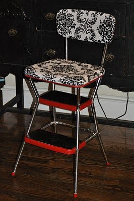 Upscaled Vintage Chair/Step-stool. Well I've got some of these chairs and NEVER would have thought to do this! No 'Formal Tutorial', but the pics tell the story.  Yep I'm doing this one!