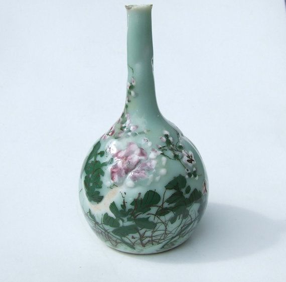 Antique Japanese Celadon Porcelain Moriage Enamel Bottle ...