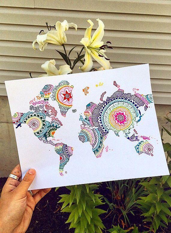 Rainbow Mandala World Map Print Rainbow Map Map by WishbonePrints