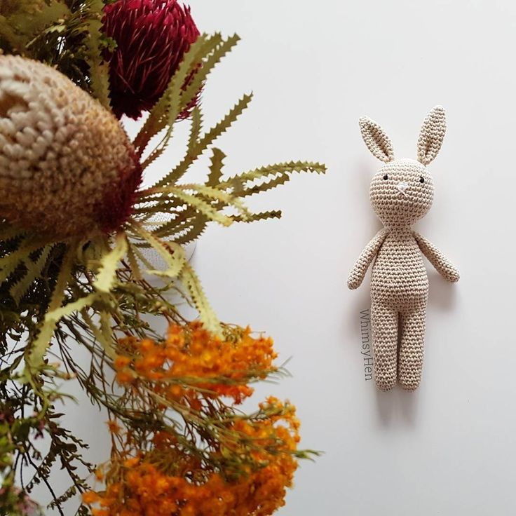 Crochet bunny and Australian native flowers by WhimsyHen.  Amigurumi bunny rabbit.