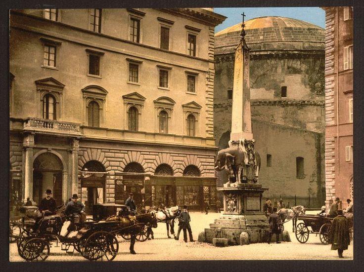 Roma nelle prime foto a colori: Piazza della Minerva 1890