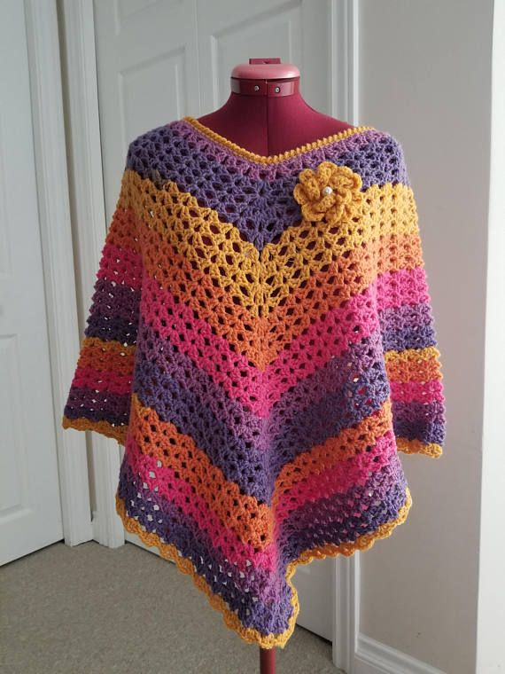 Poncho Cardigan Crochet Women Poncho Sweater  Gift for