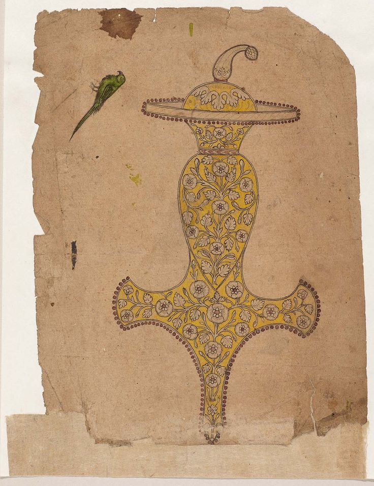 Design for a sword handle (Indian Tulwar) from the Museum of Fine Arts Boston about 1800 DIMENSIONS Overall: 21.1 x 14.7 cm (8 5/16 x 5 13/16 in.) Image: 21.1 x 14.7 cm (8 5/16 x 5 13/16 in.) MEDIUM OR TECHNIQUE Ink and opaque watercolor on paper COLLECTIONS Asia , Prints and Drawings Provenance Given to the MFA in 1917 by Denman Waldo Ross. Purchased in 1917 from Ananda Coomaraswamy. Purchased in India prior to 1916. Credit Line Ross-Coomaraswamy Collection
