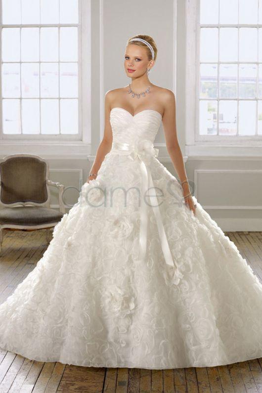 Blume Herz-Ausschnitt Außen Ballrobe Organza trägerloses bodenlanges Brautkleid