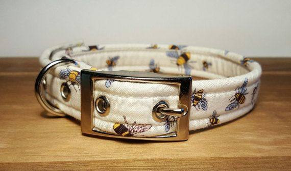 offwhite/cream with bumble bees handmade designer dog collar  This listing is for the above product handmade in the UK by us at Dogs Gone Roaming.  our collars are handmade to order for your dog! • made using a heavy duty webbing centre wrapped in the fabric listed for maximum strength. • includes welded D ring for attaching your dogs tag and lead  • made in your choice of size and style  ***Please Note*** The photos on this listing are not the final product you receive and as such the p...