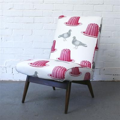 Vintage Parker Knoll Chair - Pigeon & Jelly Quirky upholstery on deco chair