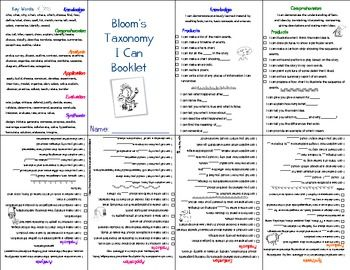 "Bloom's Taxonomy ""I Can"" Mini Booklet"