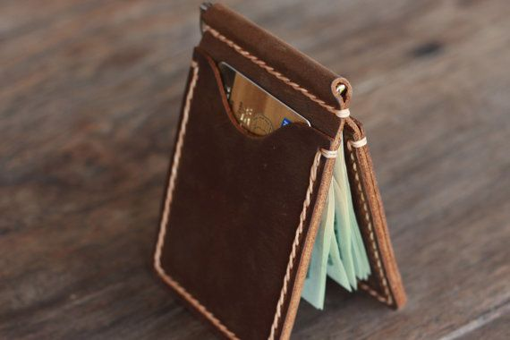 Leather Money Clip Wallet Handmade Rustic Signature by JooJoobs