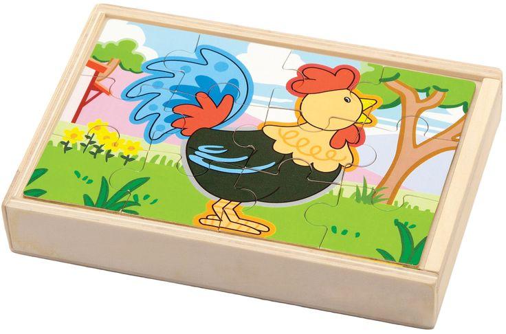 Vier puzzels (koe, haan, varken en schaap) van 12 stukjes in een houten kistje.Samen vormen deze 4 puzzels een mooie panorama puzzel.New Classic Toys biedt speelgoed wat bijdraagt aan een positieve ontwikkeling van een kind waarbij veiligheid en plezier voorop staan.   Afmeting: 30x135x195 mm - Puzzel New Classic Toys: boerderij 12x18x2 cm