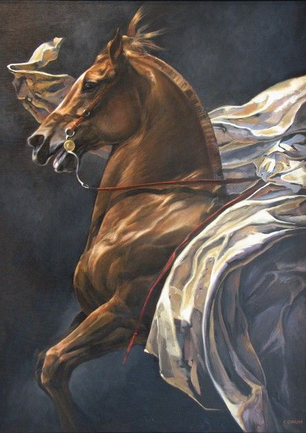 Handwork Modern Oil Painting Race War Horse Equestrian Competition No Framed