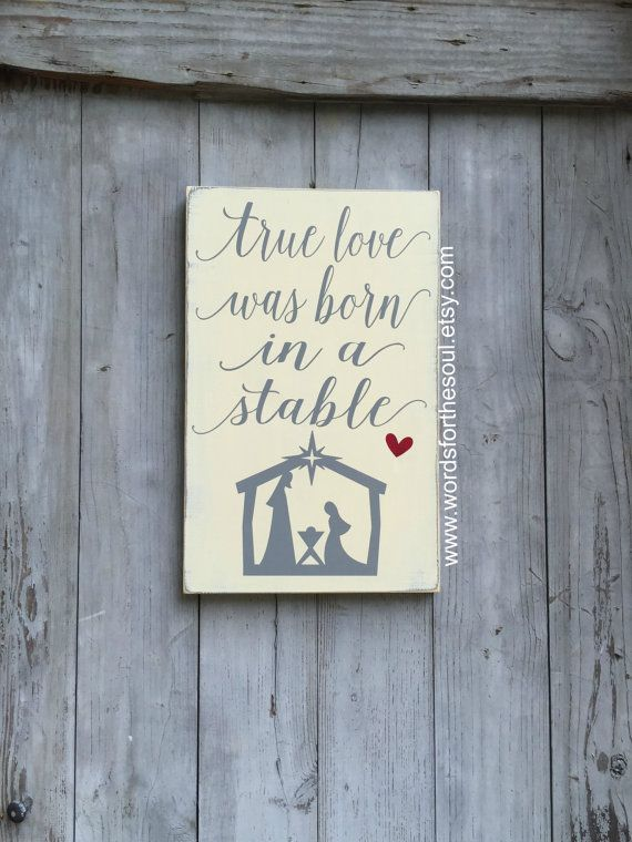 true Love was born in a stable manger jesus Christ Christmas Sign  Subway Art  Wooden Sign Christian NATIVITY sign Away in a Manger