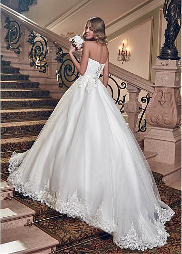 strapless neckline bridal dress back