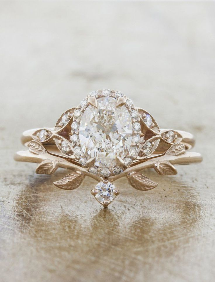 Adelixa: Nature Inspired Wedding Ring with Leaf Details | Ken & Dana