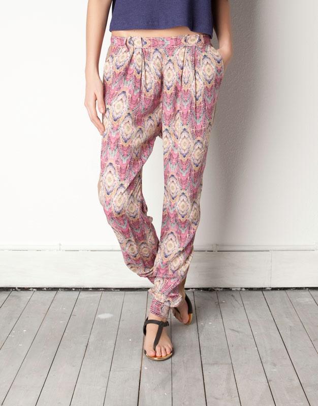 Ethnic Print Harem pants - Pull