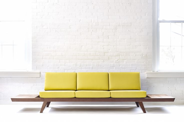 Handmade Mid-Century Modern Sofa with Side Tables, Ottoman + Custom Upholstery | Wake the Tree Furniture Co.