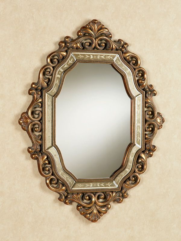 Create An Elegant Look With The Old World Inspired Verena Wall Mirror This Wall Accent Handcrafted From Resin Has A S Antique Mirror Wall Mirror Wall Mirror