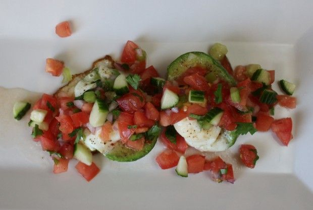 Breakfast or Lunch. Eggs in Avocado with Fresh Salsa.