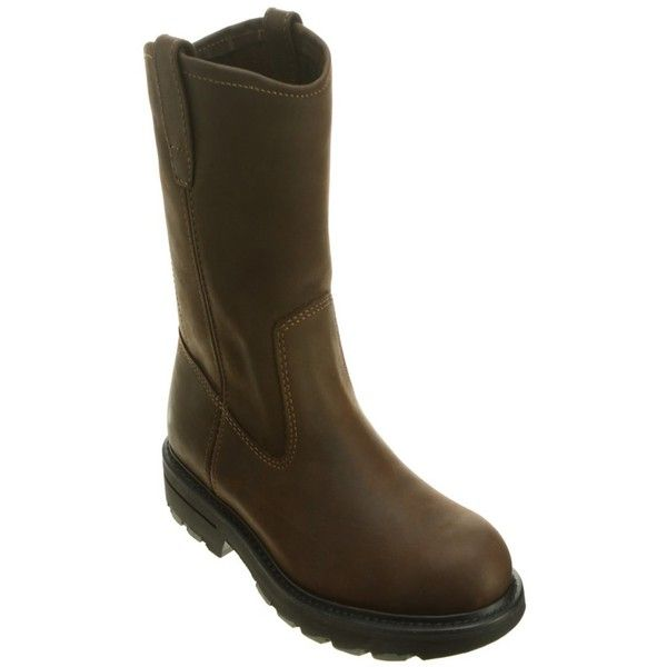 Wolverine Men's Slip Resistant 10-Inch Wellington St Eh Work Boots... ($155) ❤ liked on Polyvore featuring men's fashion, men's shoes, men's boots, men's work boots, brown, shoes, mens slip on work boots, mens brown boots, mens black pull on work boots and men's pull on boots