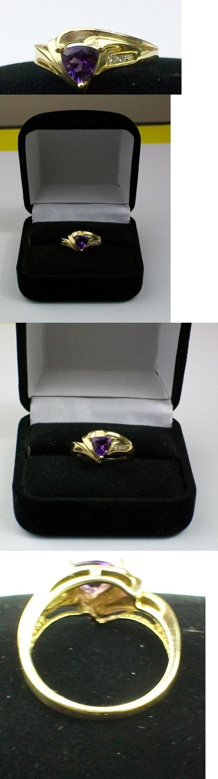Gemstone 164343: Amethyst And Diamond Ring In 10K Yellow Gold Size 7 BUY IT NOW ONLY: $65.0