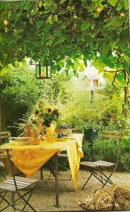 Charming Yellow table and Sunflowers ~ afternoon garden party
