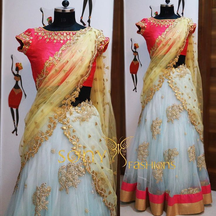 Elegance   stylishness ud83cudf38Art crafted in this beautiful  attire  lehanga  peach  blue  yellow  sangeet  partywear  unique For couture details :-Mail us at:-sonyreddy24@gmail.comCall or whtsapp :-8008100885  13 November 2016