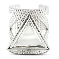 Lotus Mendes Solid Ground Cut Out Cuff - Silver