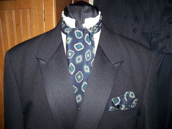 """Ascot or Carvat Navy Blue with Beige and Green Floral Paisley print fabric 4"""" x 42"""" Mens Historial Wedding, cravat tie with pocket puff"""